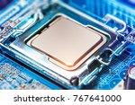 macro view of cpu socket on pc... | Shutterstock . vector #767641000