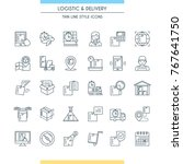 logistic and delivery icon set. ... | Shutterstock .eps vector #767641750