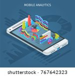 mobile analytics concept.... | Shutterstock .eps vector #767642323