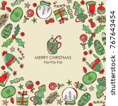 christmas and new year card... | Shutterstock .eps vector #767643454