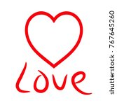 a symbol of love. red heart on... | Shutterstock .eps vector #767645260