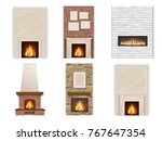 vector set of fireplace on a...   Shutterstock .eps vector #767647354