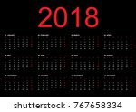 simple calendar layout for 2018 ... | Shutterstock .eps vector #767658334