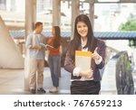 group of happy international... | Shutterstock . vector #767659213