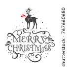 merry christmas typographic... | Shutterstock .eps vector #767660680