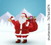santa claus holds bag of gifts. ... | Shutterstock .eps vector #767661874