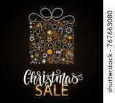 christmas hand drawn lettering. ... | Shutterstock .eps vector #767663080
