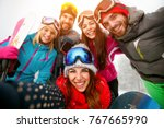 happy friends having fun on... | Shutterstock . vector #767665990