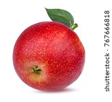 fresh red apple isolated on... | Shutterstock . vector #767666818