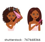 beautiful woman with dark brown ... | Shutterstock .eps vector #767668366