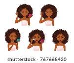 beautiful woman with dark brown ... | Shutterstock .eps vector #767668420
