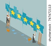 five star rating flat isometric ... | Shutterstock . vector #767672113