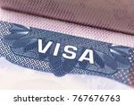 close up of text visa on usa... | Shutterstock . vector #767676763