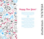 2018 happy new year of dog... | Shutterstock .eps vector #767678164
