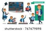 student man of education set.... | Shutterstock .eps vector #767679898