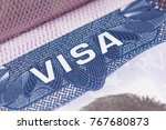 close up of text visa on usa... | Shutterstock . vector #767680873