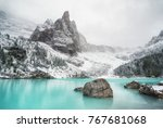 Small photo of Lake in the mountain valley in the Italy. Beautiful natural landscape in the Italy mountains.