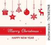 christmas greeting card. red... | Shutterstock .eps vector #767681968