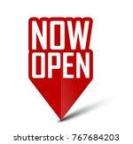 banner now open | Shutterstock .eps vector #767684203