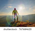 tourist with  forearm crutch...   Shutterstock . vector #767684620