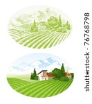 hand drawn vector landscape... | Shutterstock .eps vector #76768798