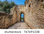 ruins in the town of sirmione... | Shutterstock . vector #767691238