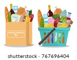 grocery in a shopping basket... | Shutterstock .eps vector #767696404