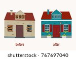 house before and after repair... | Shutterstock .eps vector #767697040