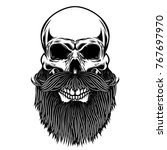 bearded skull. design element... | Shutterstock . vector #767697970