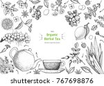 herbal tea shop frame vector... | Shutterstock .eps vector #767698876