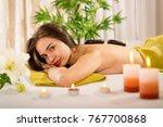 woman relaxing in spa salon... | Shutterstock . vector #767700868