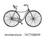 Vector hand drawn illustration of safety bicycle. Retro bicycle was used in the 1880s â?? 1890s.