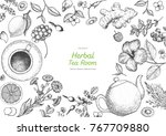 herbal tea shop frame vector... | Shutterstock .eps vector #767709880