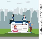 social network web site surfing ... | Shutterstock .eps vector #767713078