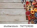 delicious breakfast background. ... | Shutterstock . vector #767719030