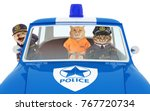 funny cats go to the police... | Shutterstock . vector #767720734
