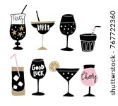 set of hand drawn alcoholic... | Shutterstock .eps vector #767722360
