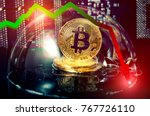 Small photo of Bitcoin in a soap bubble. Unstable concept. Risks and dangers of investing to bitcoin. Exchange rate depreciation. Speculation.