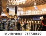 frosty glass of light beer on... | Shutterstock . vector #767728690