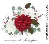 vector floral bouquet design ... | Shutterstock .eps vector #767732659