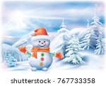 cute snowman on a winter... | Shutterstock .eps vector #767733358
