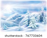 winter landscape with covered... | Shutterstock .eps vector #767733604