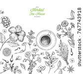 herbal tea shop vector...   Shutterstock .eps vector #767743918