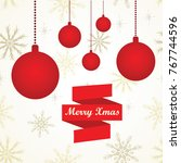 simple greeting card with red... | Shutterstock .eps vector #767744596