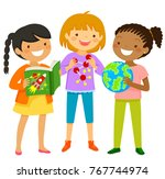 curious girls interested in...   Shutterstock . vector #767744974