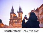 Man   Tourist Taking Photos Of...