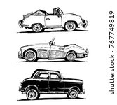 vector retro cars set | Shutterstock .eps vector #767749819