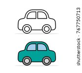 car icon set  outline and color ...