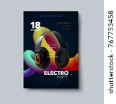 electro party invitation poster.... | Shutterstock .eps vector #767753458