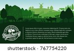 vector butcher shop... | Shutterstock .eps vector #767754220